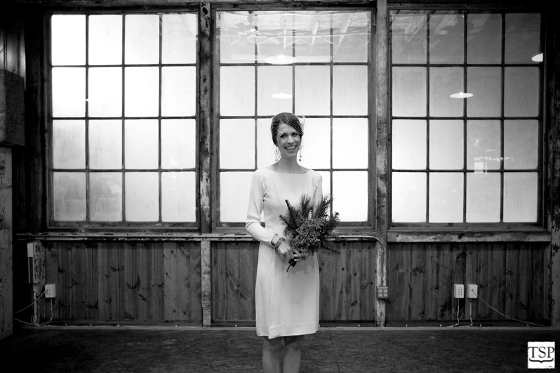 Bride in Front of Windows at Sodo Park
