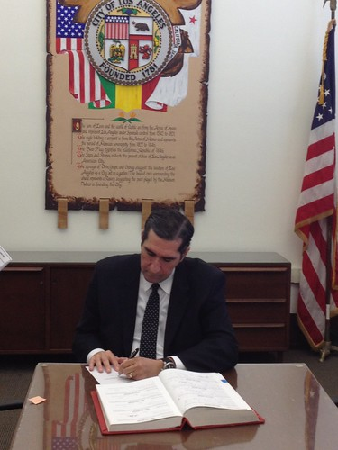 Newly Appointed LAFD Fire Commissioner Skobin Signing-in