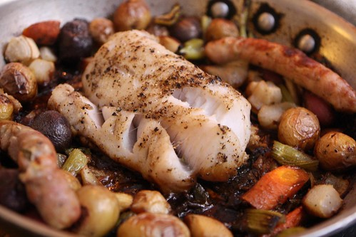 Roast Hake with Turnips, Carrots, Potatoes, and Chicken Sausage