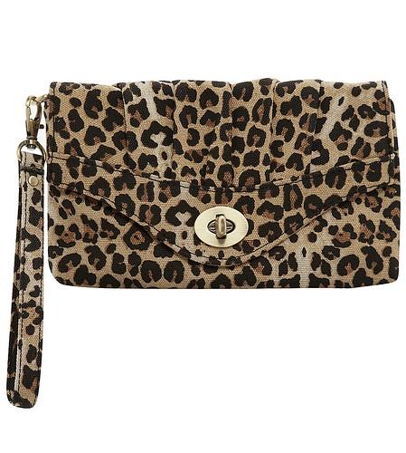 Leopard ruched wristlet
