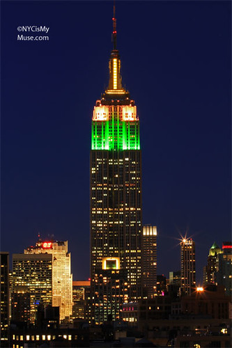 Empire State Building wearing its Green, Pink & Yellow Easter Bonnet