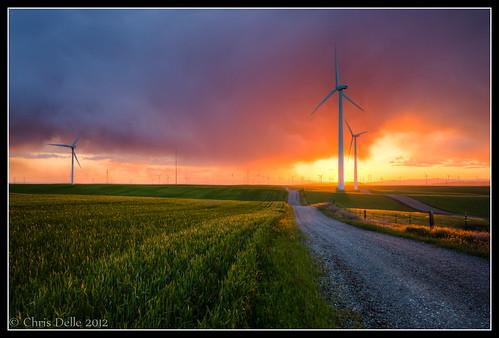 california sunset color field landscape windmills hdr riovista windturbines