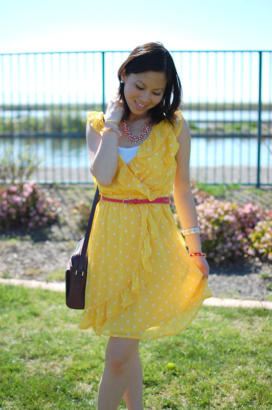 Forever 21 yellow polka dot ruffle dress with red accents