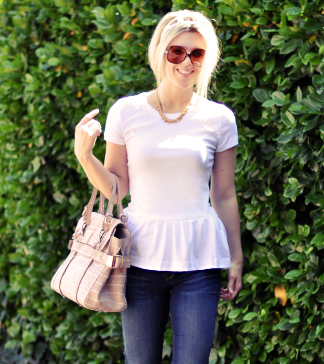white Peplum T-shirt DIY and jeans