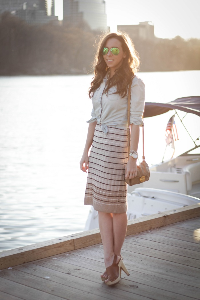 va darling. dc blogger. virginia personal style blogger. georgetown waterfront. midi striped skirt. chambray top. wooden leather clogs. 3