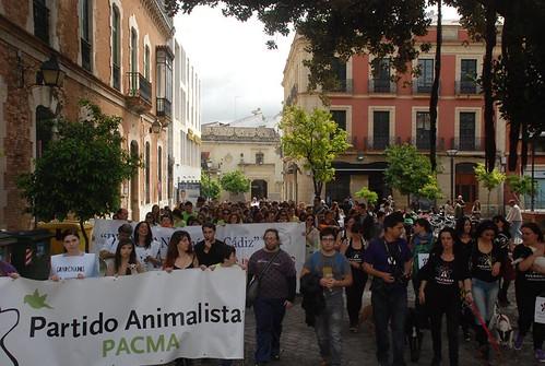 Manifestación en Cádiz contra el maltrato animal