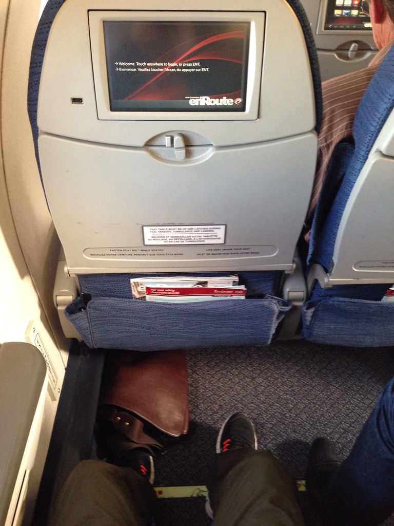 Exit row seat pitch on Air Canada's Embraer 190