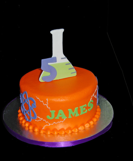 Mad Science 5th Birthday Cake with Erlenmeyer Flask topper