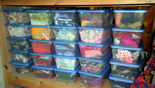 Fabric Scraps organized by color