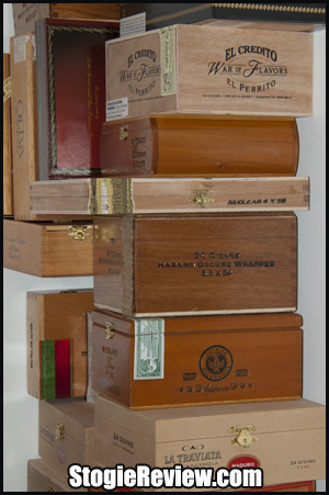Stack of Empty Cigar Boxes - 1