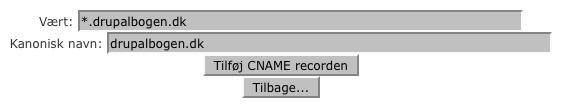 Tilføj en CNAME record til dit domæne