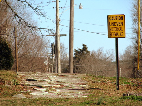 sign tn tennessee sidewalk caution historical clifton uneven waynecounty