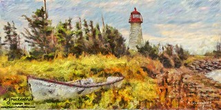 Prim Point Light Station, PEI Canada, a digital painting | by PhotosToArtByMike
