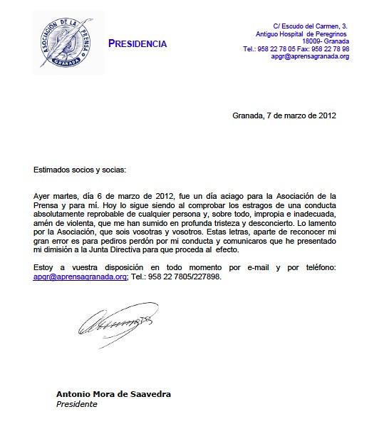 Antonio Mora carta