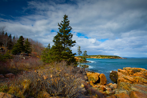 ocean blue trees sea sky seascape nature weather clouds forest landscape island coast nationalpark scenery rocks view stones maine cliffs acadia