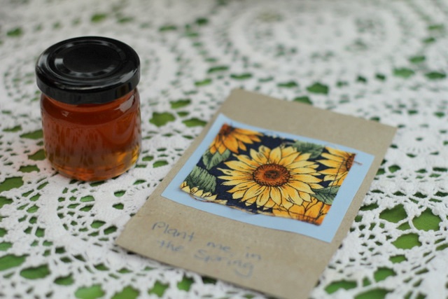 Purple Pear Organic Farm Birthday Party - Party favours: small jar of honey & a envelope of sunflower seeds