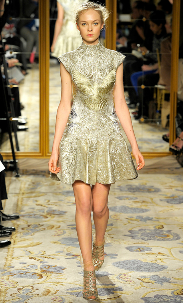 Marchesa 2012 short metaalic bird dress