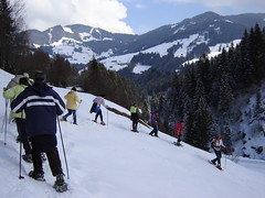 Viele Schneeschuhwanderer