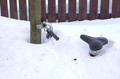 Polkypyörä lumihangessa.