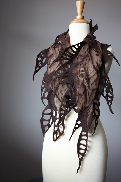 Nuno felted fashion scarf in Chocolate woman silk wool spring