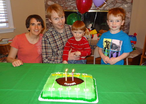 "Rebecca, Ben, Archie and Henry, About to Sing ""Happy Birthday"""