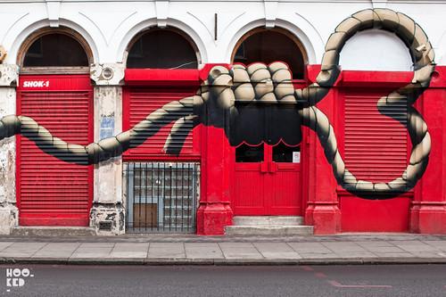 Graffiti Artist SHOK 1's 'Heart Noose' Mural in Shoreditch, London