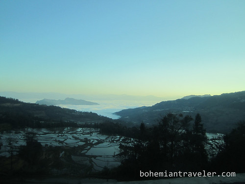 Yuanyang Rice Terraces around Xinjie China at dawn from bus