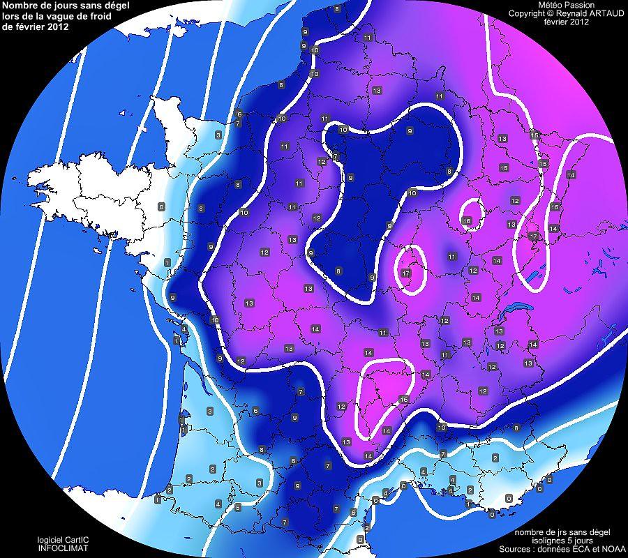 nombre de jours sans dégel ou avec gel permanent en France lors de la vague de froid de février 2012 météopassion