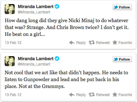 Miranda-Lambert-Chris-Brown-Tweet