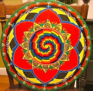 Red rainbow lotus mandala