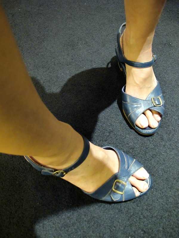 1970s navy peep toe strappy sandals