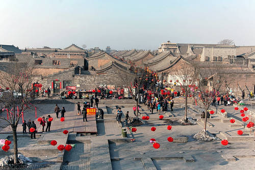 Chinese New Year Decorations and the rooftops of Pingyao