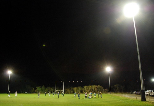 Training under the new lights after the official lighting up ceremony