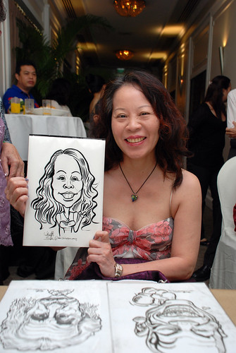 caricature live sketching for wedding dinner @ Goodwood Park Hotel - 3