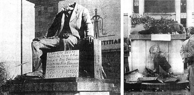 The monument to Salazar after two anonymous actions