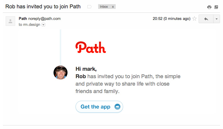 What Path's invitation email looks like.