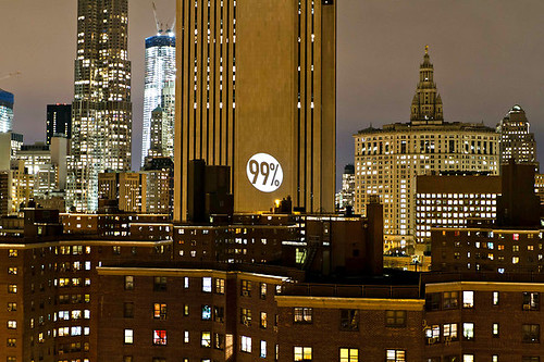 """Bat Signal for the 99%,"" Manhattan"