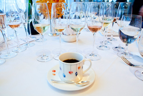 My cup of coffee with my wall of Nicolas Feuillatte Champagnes