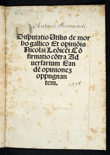 Bx337_a1rTitle-page of Scanarolus, Antonius: Disputatio de morbo gallico