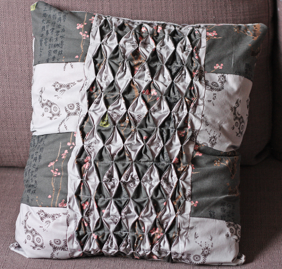 patchwork grey pillow