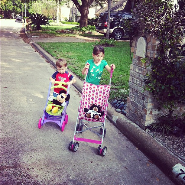 What one does the other has to do!! He had to have a stroller like sister I go on our walk!!