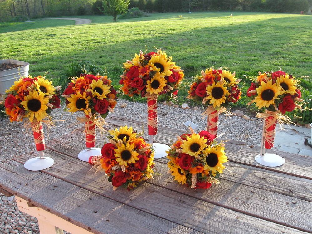 Fall Bridal Bouquets With Sunflowers Silk Fall Sunflower Bridal
