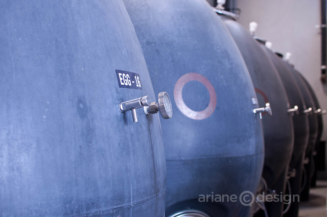 Okanagan Crush Pad: row of fermentation eggs