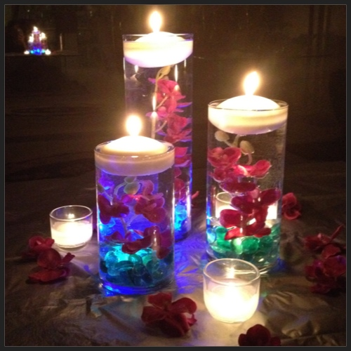 Flowers And Floating Candle Centerpieces With Led Lighting: Krystle & Rlan