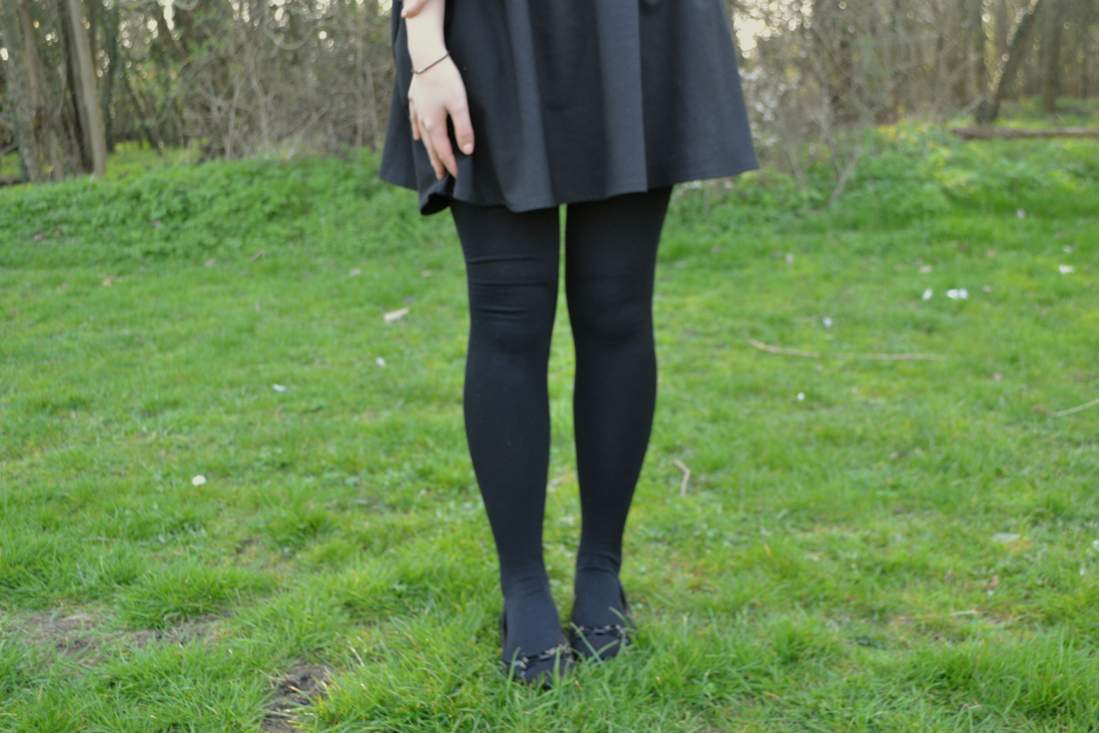 daisybutter - UK Style Blog: what i wore, skater skirt, tights and flats, uk fashion blogger
