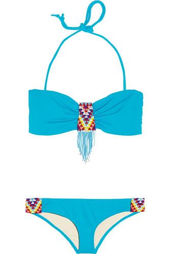 Mara Hoffman beaded bandeau bikini swimwear