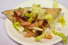 sandwich(0.0), salad(0.0), vegetarian food(0.0), meat(0.0), cheesesteak(0.0), caesar salad(0.0), tostada(1.0), meal(1.0), breakfast(1.0), bruschetta(1.0), baked goods(1.0), produce(1.0), food(1.0), dish(1.0), cuisine(1.0),