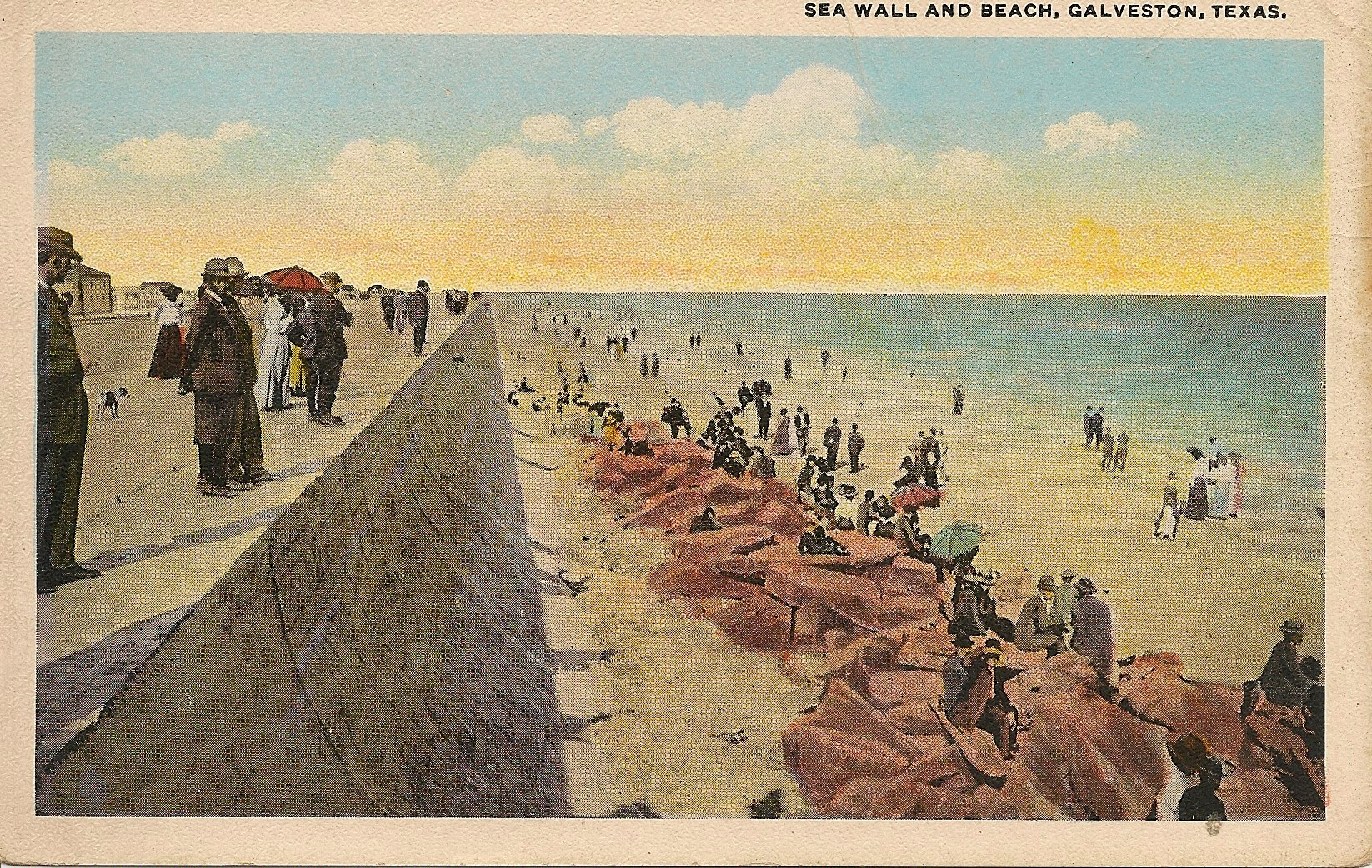 Seawall and Beach, Galveston, Tx Postcard