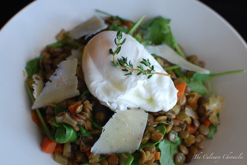 Poached Eggs over Lentils and Arugula