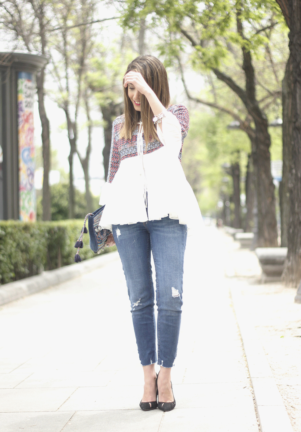 embroidered jacket jeans heels accesories spring style fashion outfit21